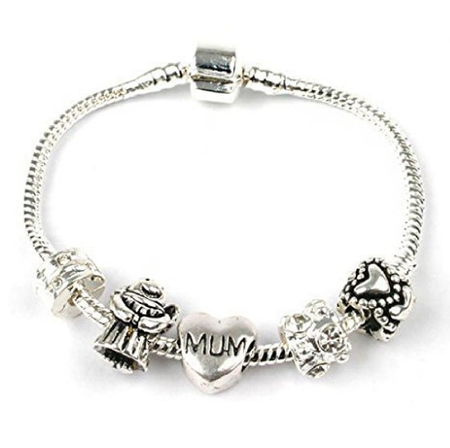 Mum 'Purple Rush' Silver Plated Charm Bead Bracelet