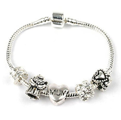 Guardian Angel For Mum Silver Plated Charm Bead Bracelet