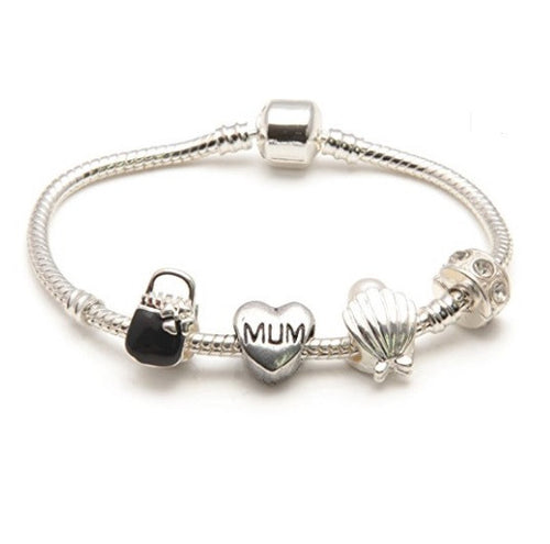 Mum 'Pearl Lady' Silver Plated Charm Bead Bracelet