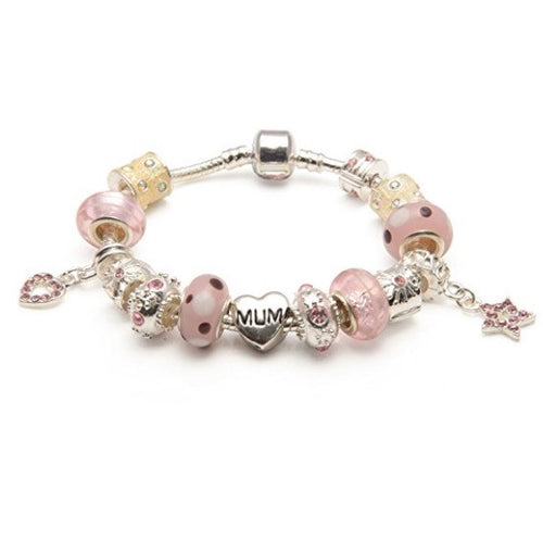 Mum 'Pink Me Up' Silver Plated Charm Bead Bracelet