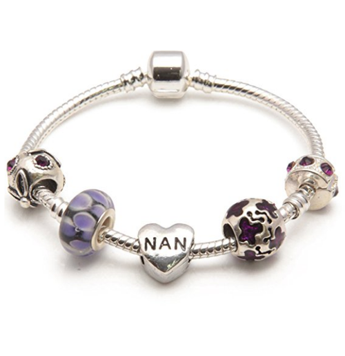 Nan 'Purple Rush' Silver Plated Charm Bead Bracelet