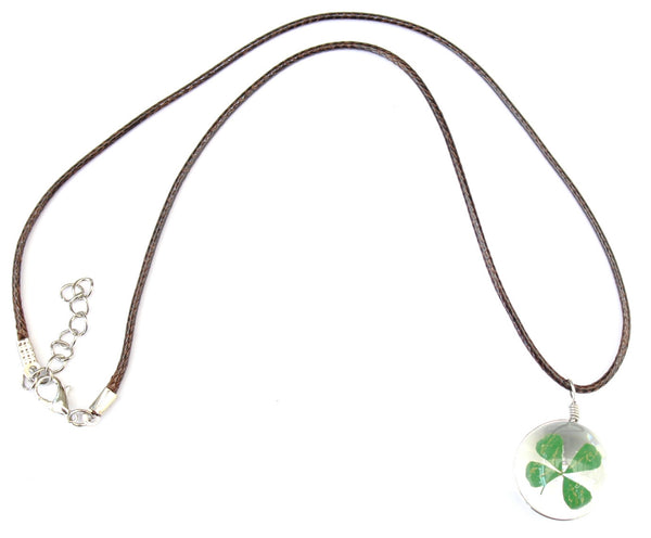 'Good Luck Four Leaf Clover' Pendant Wax Cord Necklace