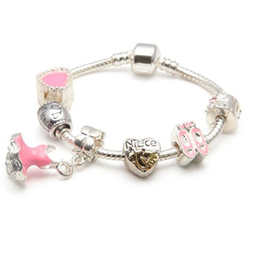 Children's Niece 'Love To Dance' Silver Plated Charm Bead Bracelet