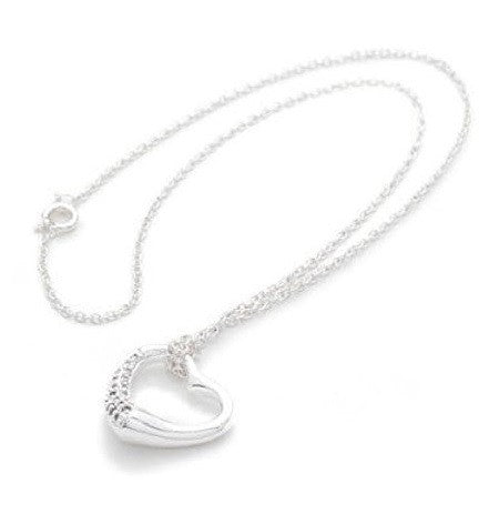 925 Sterling Silver Plated Open Heart 'Love Note' Cubic Zirconia Pendant Necklace