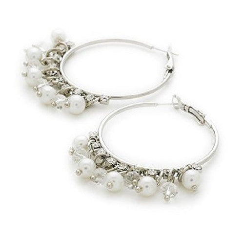 Designer Style Silver Tone and Crystal Diamante 'Ocean Pearl Sparkle' Hoop Earrings