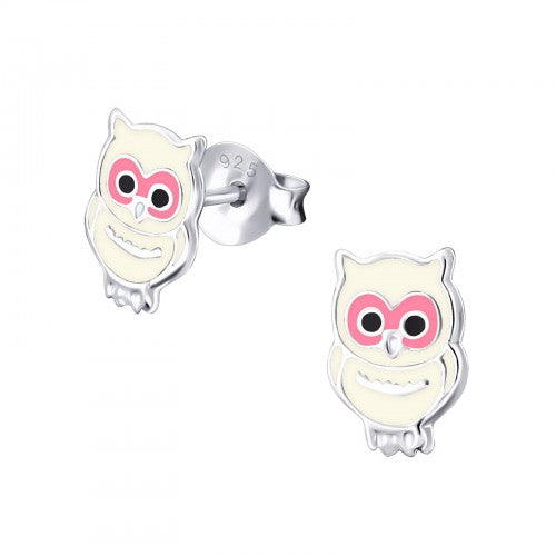 Children's Sterling Silver Owl Stud Earrings
