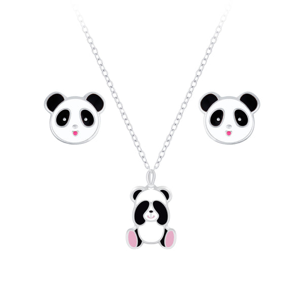 Children's Sterling Silver Panda Pendant Necklace and Panda Stud Earrings Set