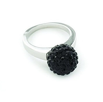 Celebrity 'Phoenix Rocks' Sterling Silver Plated Black Czech Crystal Disco Ball/Shamballa Ring