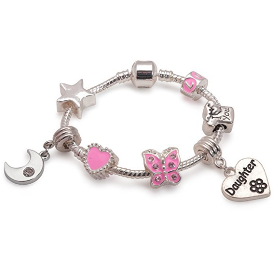 Children's Daughter Pink 'Dream Moon & Star' Silver Plated Charm Bead Bracelet