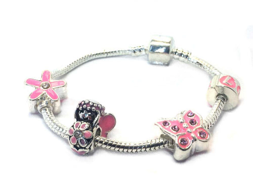 childrens pink fairy charm bracelet for a girl and toddler