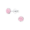 Children's Sterling Silver 'Pink Sweetie Swirl' Stud Earrings
