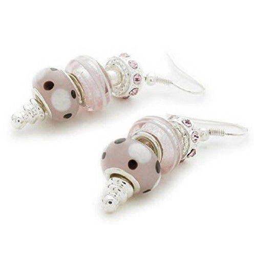 Silver Plated 'Pink Me Up' Bead Charm Earrings