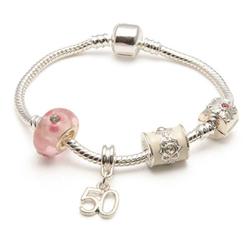 silver and pink bracelet, 50th birthday gifts girl and charm bracelet gifts for 50 year old girl