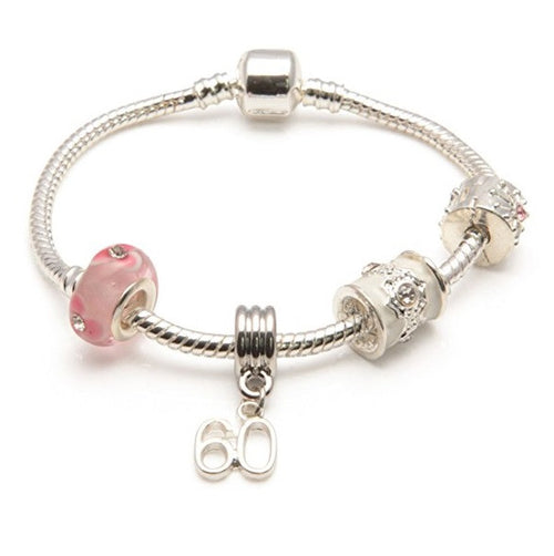 silver and pink bracelet, 60th birthday gifts girl and charm bracelet gifts for 60 year old girl