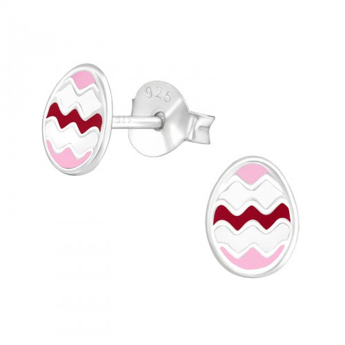 Children's Sterling Silver 'Pink Easter Egg' Stud Earrings