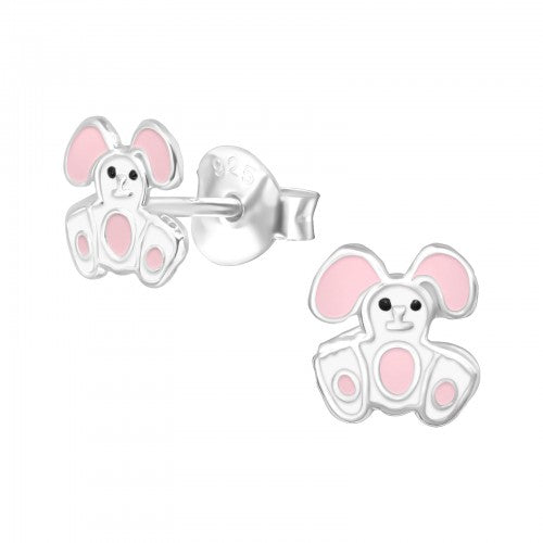 Children's Sterling Silver 'Floppy Eared Easter Bunny' Stud Earrings