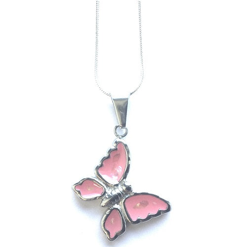 Children's Silver Plated Necklace With Pink Butterfly Pendant