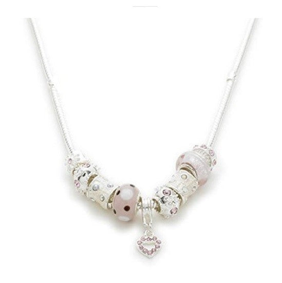 Silver Plated 'Pink Me Up' Charm Bead Necklace