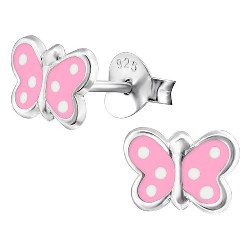 Children's Sterling Silver Spotty Pink Butterfly Stud Earrings
