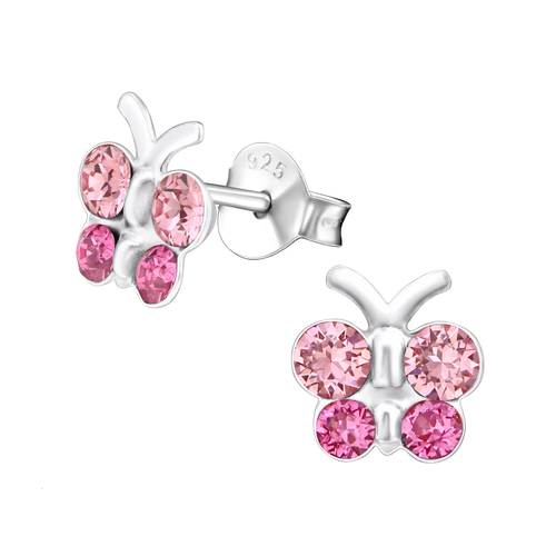 Children's Sterling Silver Pink Diamante Butterfly Stud Earrings