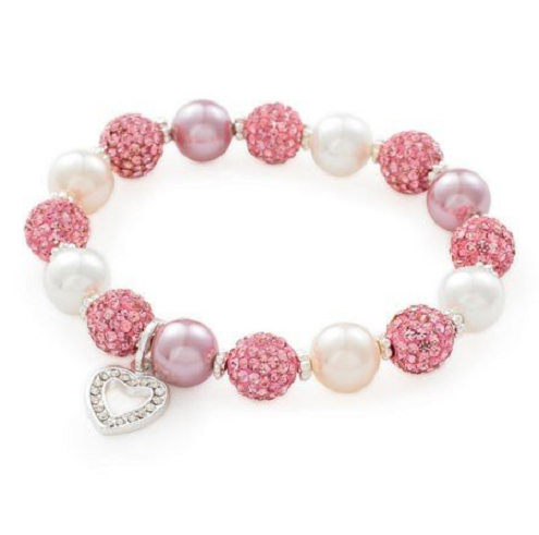 Designer Inspired 'Pink Pearl Glitter' Czech Crystal and Freshwater Pearl Stretch Bracelet
