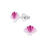 Children's Sterling Silver Pink Shell Stud Earrings