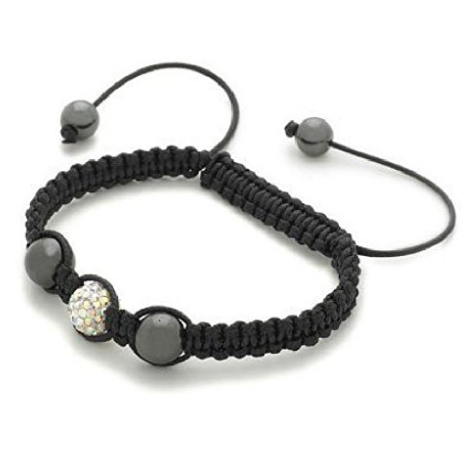 Designer Inspired 'Polaris' White Czech Crystal Disco Ball Shamballa Bracelet