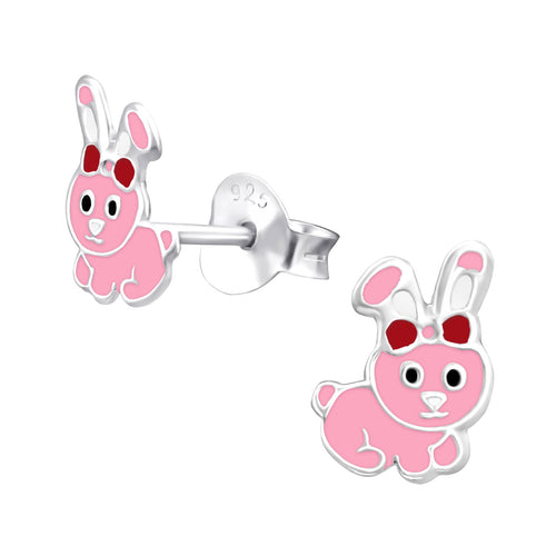 Children's Sterling Silver 'Pretty Pink Bunny Rabbit' Stud Earrings