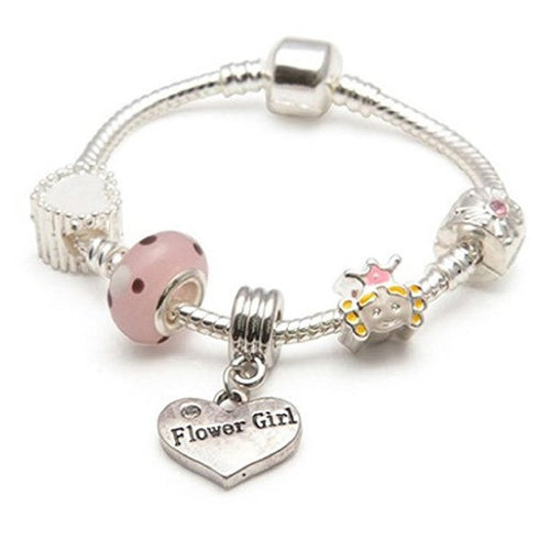 Children's Flower Girl 'Little Princess' Silver Plated Charm Bead Bracelet