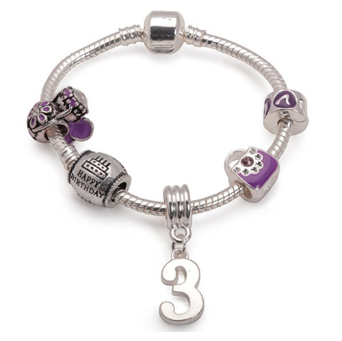 Childrens Purple 'Happy 3rd Birthday' Silver Plated Charm Bead Bracelet