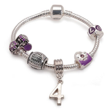 Childrens Purple 'Happy 4th Birthday' Silver Plated Charm Bead Bracelet