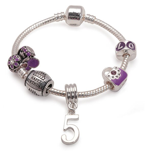 Childrens Purple 'Happy 5th Birthday' Silver Plated Charm Bead Bracelet