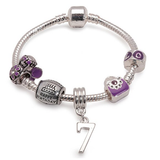 Childrens Purple 'Happy 7th Birthday' Silver Plated Charm Bead Bracelet