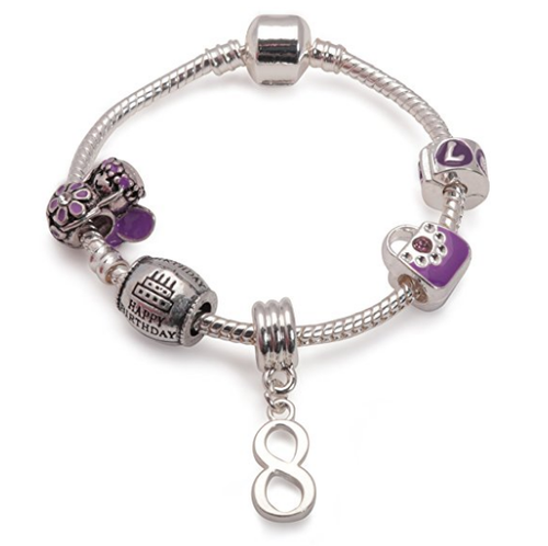 Childrens Purple 'Happy 8th Birthday' Silver Plated Charm Bead Bracelet