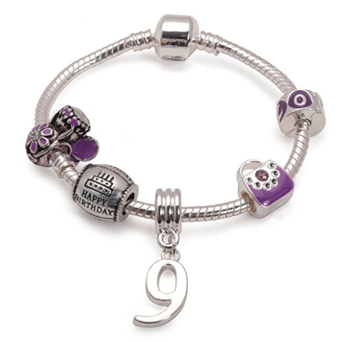 Childrens Purple 'Happy 9th Birthday' Silver Plated Charm Bead Bracelet