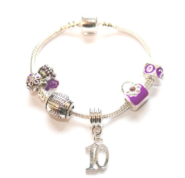 Children's Purple 'Happy 10th Birthday' Silver Plated Charm Bead Bracelet