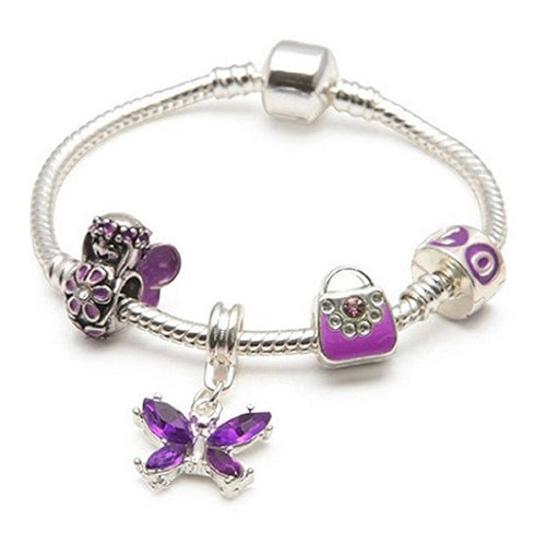Children's 'Purple Fairy And Butterflies' Silver Plated Charm Bead Bracelet