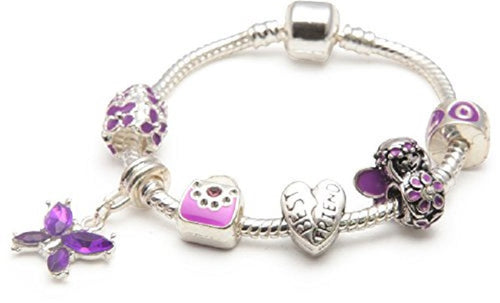 Children's Best Friend 'Purple Fairy Dream' Silver Plated Charm Bead Bracelet
