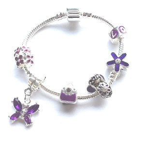 Silver Plated Purple Fairy Dream Charm Bracelet