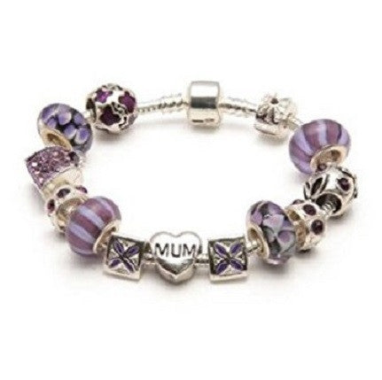 Mum 'Purple Orchid' Silver Plated Charm Bead Bracelet