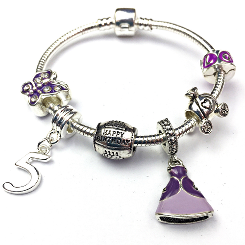 Children's 'Purple Princess 5th Birthday' Silver Plated Charm Bead Bracelet