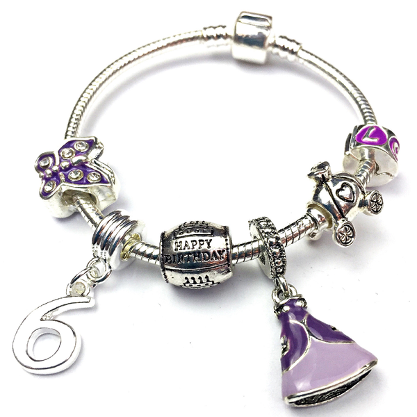 Children's 'Purple Princess 6th Birthday' Silver Plated Charm Bead Bracelet