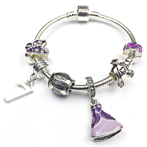Children's 'Purple Princess 7th Birthday' Silver Plated Charm Bead Bracelet