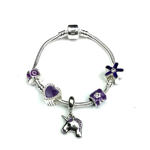 Children's 'Purple Unicorn' Silver Plated Charm Bead Bracelet