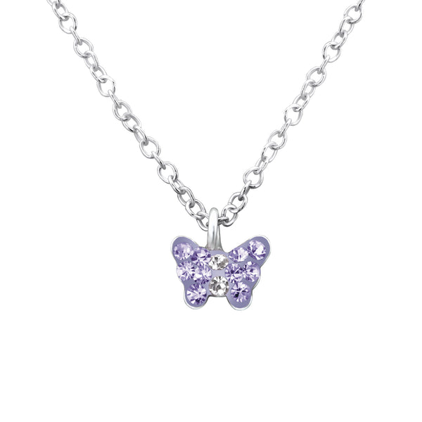 Children's Sterling Silver Purple Crystal Butterfly Pendant Necklace