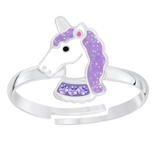 Children's Sterling Silver Adjustable Purple Sparkle Unicorn Ring