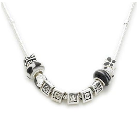 Silver Plated Personalised 'Racy Lady' Name Charm Bead Necklace 46cm/58cm