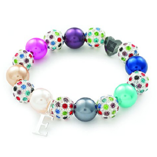 Designer Inspired 'Rainbow Starlet' Pink Czech Crystal and Haematite Stretch Bracelet