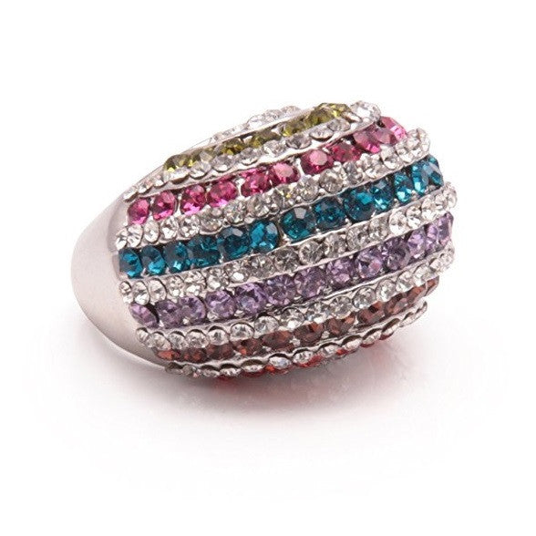 Designer Inspired Silver and Crystal Diamante 'Rainbow' Cocktail Ring