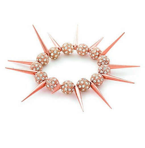 Designer Celebrity Style 'Rose Gold Spike' Czech Crystal Bead Stretch Bracelet